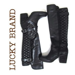 Lucky Brand Black Quilted Leather Boots 9.5